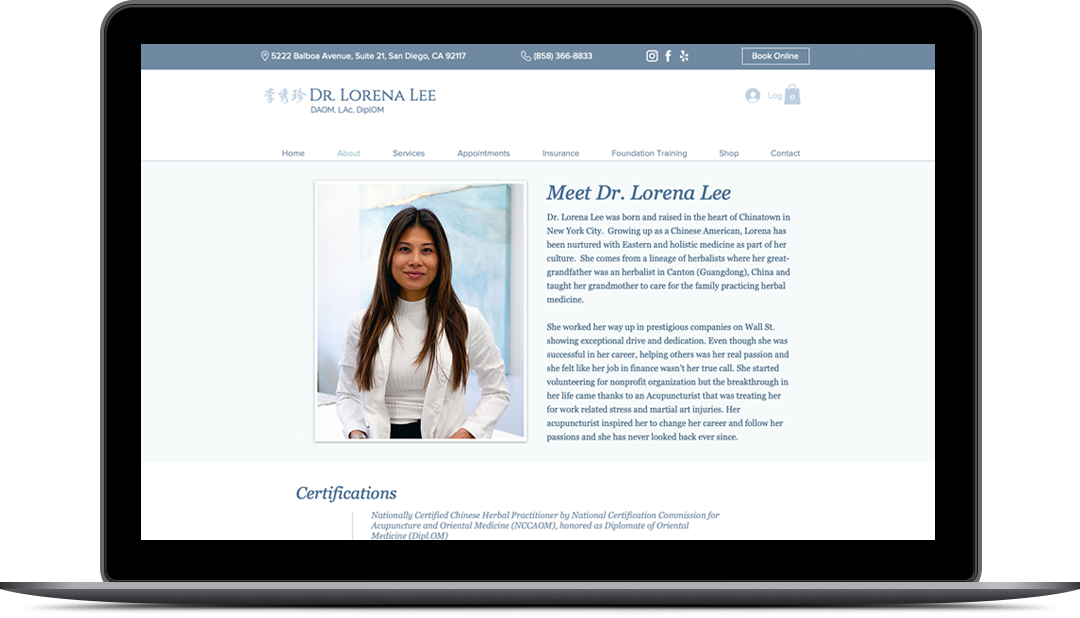Dr. Lorena Lee Website About Page