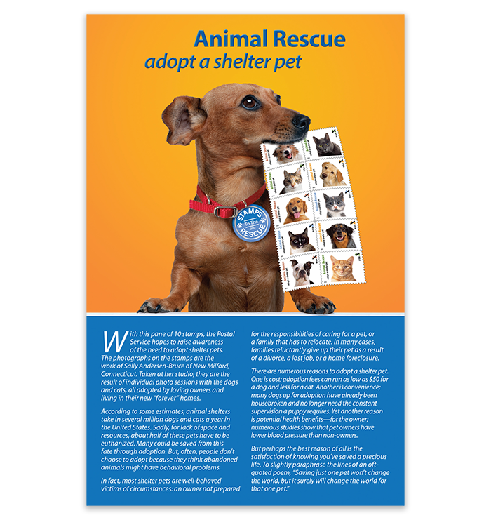 Adopt a Pet First Day of Issue Stamp Program - Front